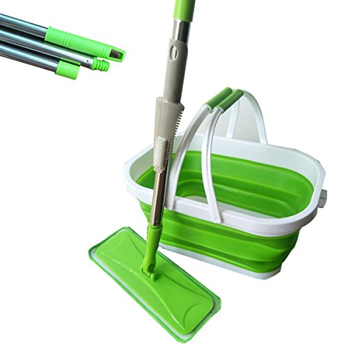 (QINGQIU Commercial Grade Microfibe Mini Flat Mop kit,with 10L Silicone Collapsible Bucket and Mop Pad Cleaning Scraper,Stretches From 31