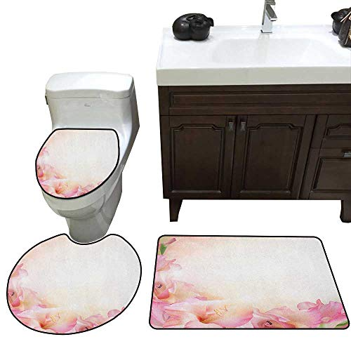 Pink and White 3 Piece Toilet Mat Set Orchid Blossoms Corner Ornament on a Dreamy Backdrop Floral Fantasy Contour Rug for Home Decor Peach Pink Green