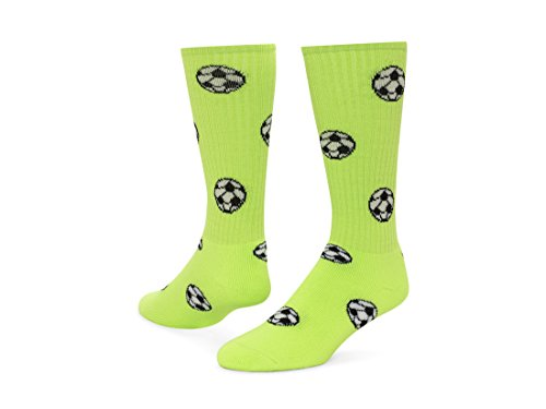 Red Lion Soccer Balls Design Athletic Sports Knee High Socks ( Neon Green – Small )