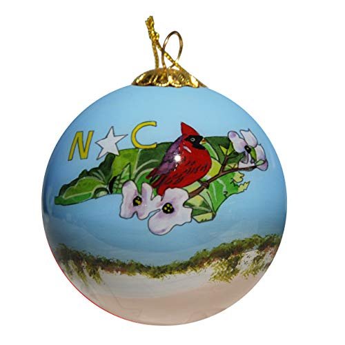Art Studio Company Hand Painted Glass Christmas Ornament - North Carolina State Images