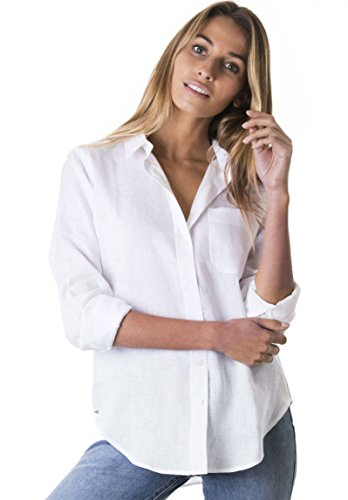 CAMIXA Women's Natural Cool Linen Button-Down Loose Shirt | Summer Winter Casual Chic XS Snow White ()