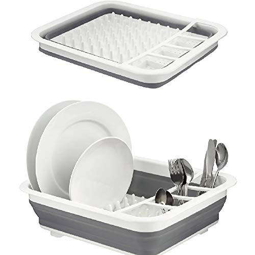(Ahyuan Collapsible Dish Drying Rack Foldable Dish Rack Portable Dish Drainers for Kitchen Counter Collapsible over the Sink Dish Drainer Drying Rack for RV Camping Marine Dish Tub and Washing)