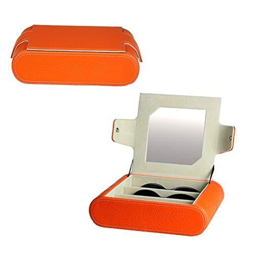 Genuine Leather Eyeglasses Storage DisplayEyewear Case Collector Box, Jewellery Box Sunglasses Organiser for Eye Wears Jewellery Watches,Orange from LRRJJ