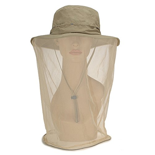 Odsport Women Mosquito Netting Hat All Natural Mosquito Repellent Sun Hat Flap Hats UPF 50+ 360 Degree Solar Protection Sun Cap with Neck Face Mesh Mask Caps for Hiking Traveling (Off-White)