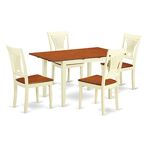 East West Furniture NOPL5-WHI-W 5 Piece Dinette Table and 4 Chairs Set