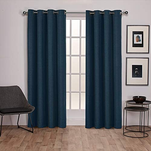 Exclusive Home Curtains Raw Silk Thermal Window Curtain Panel Pair with Grommet Top, 54×108, Mallard Blue, 2 Piece
