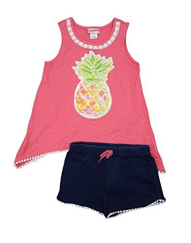 Flapdoodles Girls 2 Piece Sleeveless Top & Short Clothing Set, Pink Lemonade (7/8) ()