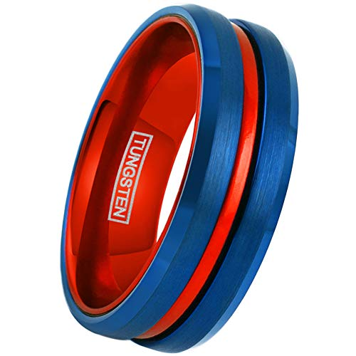King's Cross Super 8mm Blue Tungsten Ring w/Red Stripe & Red Anodized Aluminum Inner Band. (Tungsten (8mm), 10)]()