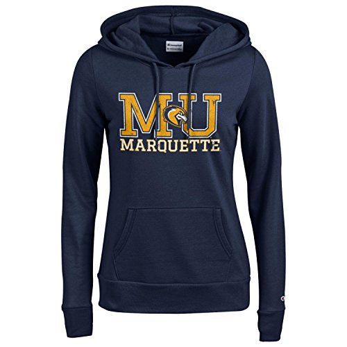 Champion NCAA Women's Comfy Fitted Sweatshirt University Fleece Hoodie Marquette Golden Eagles Small