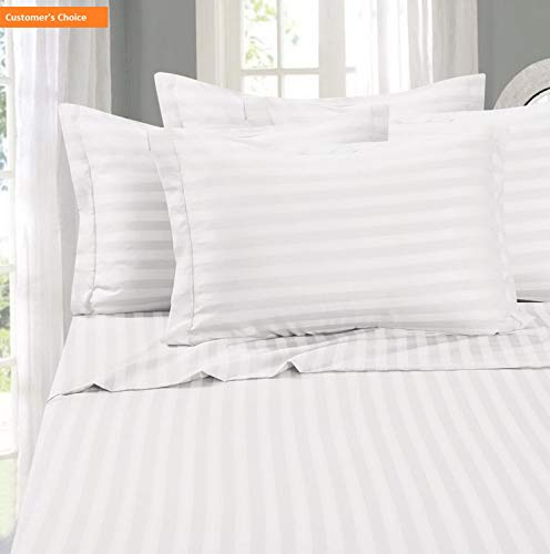 Mikash New Soft Silky-Soft 1500 Thread Count Egyptian Quality Wrinkle-Free 4-Piece Stripe Sheet Set, King White | Style 84600147