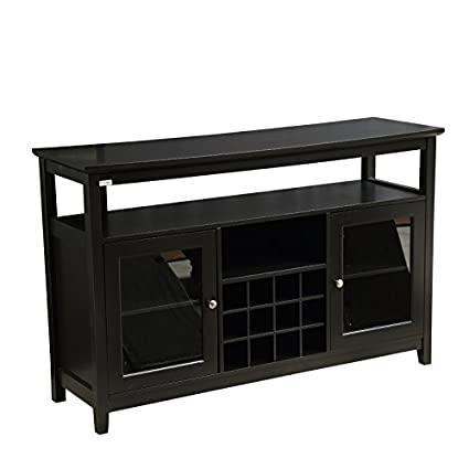 Mixcept 52u0026quot; Wooden Sideboard Buffet Table Tall Console Dining Server  Storage Cabinet With Wine Rack