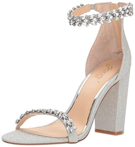 (Badgley Mischka Jewel Women's Mayra Heeled Sandal, Silver Glitter, 9 M)