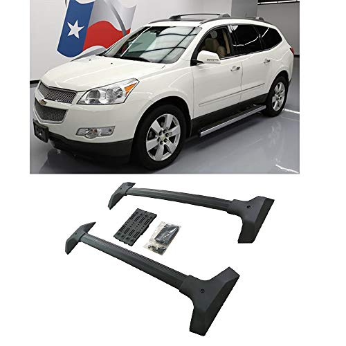 A&K 2 pcs New Aluminum Roof Rack Cross Bars for 2009 2010 2011 2012 2013 2014 2015 2016 2017 Chevrolet Traverse Black Powder Coated Top Cross Rails Cargo Luggage Carrier Rack Assembly Accessories ()
