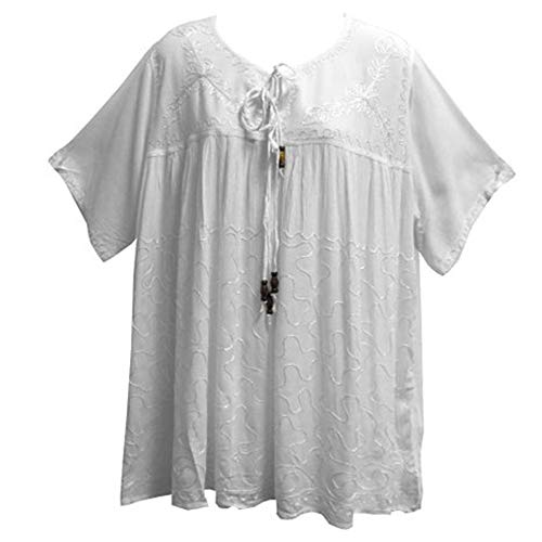 Peasant Gauze Top Embroidered - Missy Plus Bohemian Peasant Embroidered Short Sleeve Gauze Cotton Top/Blouse (White)