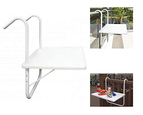 Rail Planters Hanging Table Tray Balcony Hook Patio Outside Party Entertaining Lawn Garden Accessories Salver Hold Tea Coffee Cold Drink Hot Chocolate Snack Hanging Stand Home Condo Capacity 20 Pound (Balcony Condo Design)