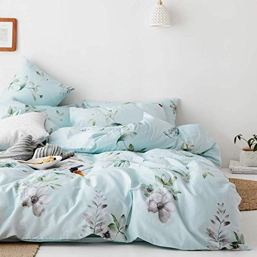 VClife Floral Twin Bedding Sets Colorful Garden Branch Flowers Duvet Cover Sets - 100% Cotton Luxury Soft Blue Bedding Collections Kid Teen Twin 3 Pieces Bedding Quilt Cover Sets from VClife