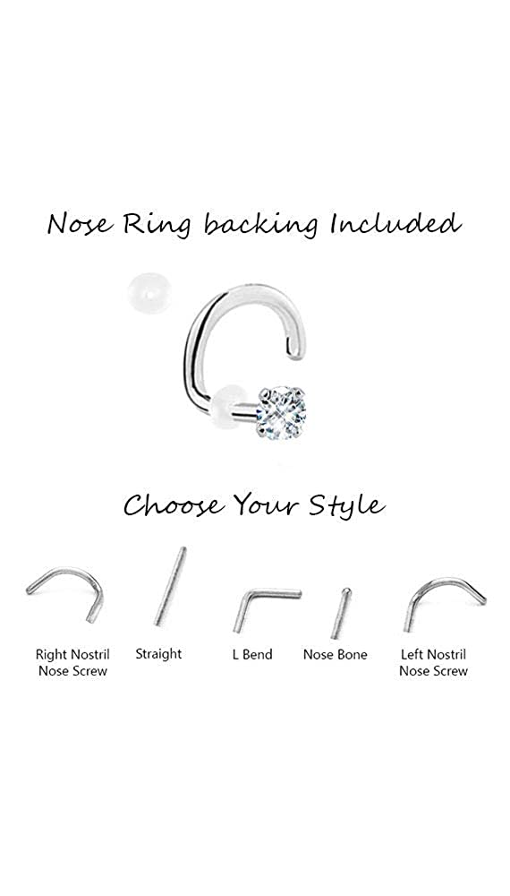 20 Pack 925 Sterling Silver Nose Studs Rings 1.5mm Clear stone 22G Nose Ring Bling NS932