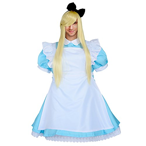 Party Chili Japanese Maid Dress Lolita Cosplay Costume For Men Plus Size With Wig (SkyBlue (Male Maid Costumes)