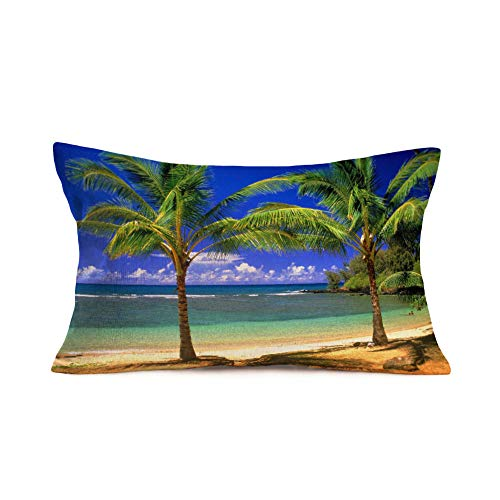 Coconuts On The Beach Halloween (Royalours Tropical Palm Tree Throw Pillow Covers Cotton Linen Green Coconut Tree Palm Leaves Branches on The Beach Decorative Home Decor for Couch Sofa Bedroom 12 X 20 Inches)