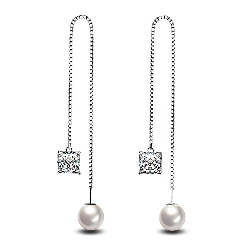 - YAMULA Long White Crystal-studded Silver Plated Earrings Korean Style Temperament with Pearl Zircon Drop Earrings