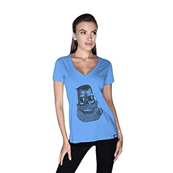 Creo Beard Pipe Retro T-Shirt For Women - S, Blue