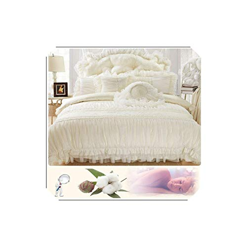 Beige Lace Princess Cover King Queen 4/6Pcs 100% Cotton Ruffles Bedspread Bed Skirts Bedclothes Bedding Sets Wedding,Beige,King Size - Queen Bedding 8pcs