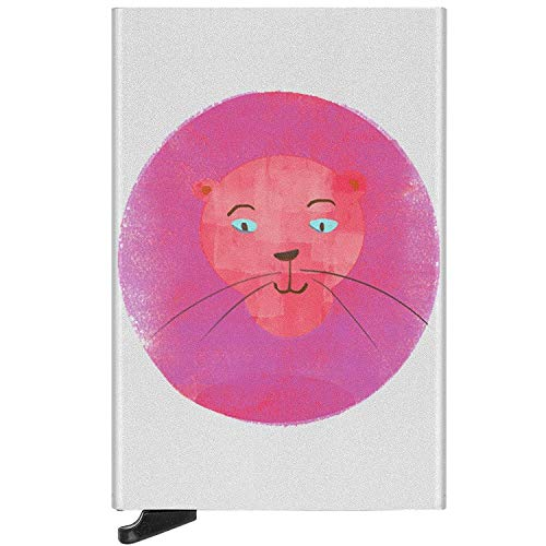 RFID Card Case King of The Technicolor Jungle Purple Lion Slim Credit Card Holder Anti-Magnetic Metal Wallet Protector