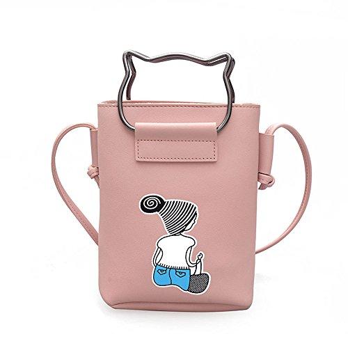Meaeo Bolso De Mano Bolsa De Hombro Bolsa De Sesgados Único Precioso,Black Pink