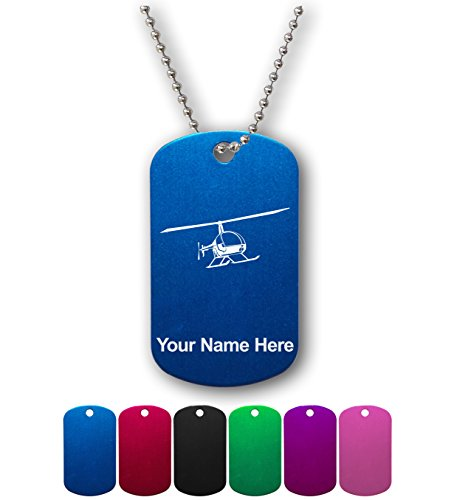 Military Style ID Tag - R22 Helicopter - Personalized Engraving Included (Pilot Name Tag)