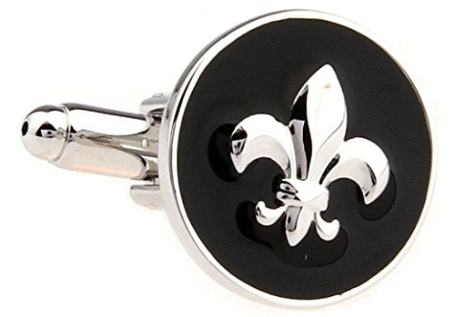 (MRCUFF Presentation Gift Box Fleur De Lis Raised Emblem Pair Cufflinks & Polishing Cloth)