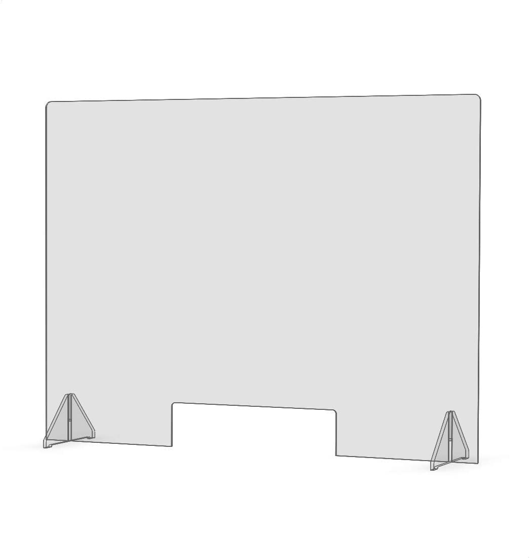 "Sneeze Guard - Economy 32"" x 24"" Protective Freestanding Shield with Transaction Window for Offices and Stores"