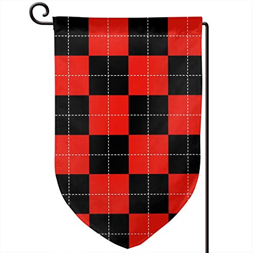 Hucuery Seasonal Garden Flag, Dotted Red Checkerboard Vertical Double-Sided 12.5 X 18 in Courtyard Decoration Durable, Lovely Gifts]()