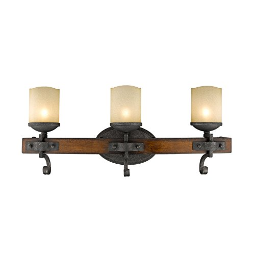 Golden Lighting Madera 3 Light Bath Vanity in Black Iron w/Toscano Glass