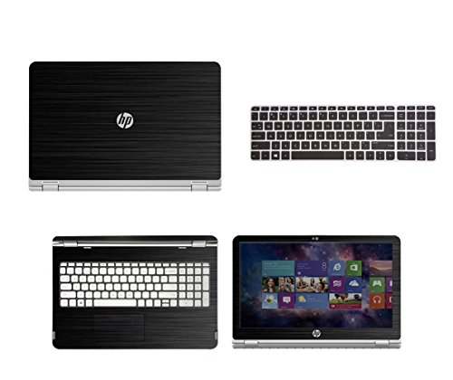 Black Brushed Aluminum skin decal wrap skin Case + Semi Black Keyboard Cover for HP ENVY x360 m6 series m6-w101dx m6-w102dx m6-103dx m6-105dx 15.6 laptop