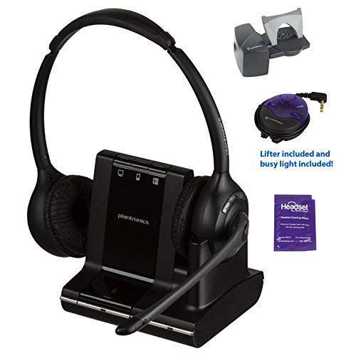 Plantronics Savi W720 Wireless Headset Bundled with Lifter, Busy Light and Headset Advisor Wipe- Professional Package