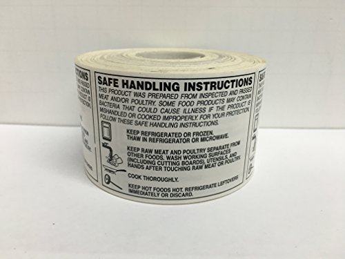 500 2 X 2.75 SAFE HANDLING INSTRUCTIONS Food Packaging Retail Caution Stickers 500 labels per roll