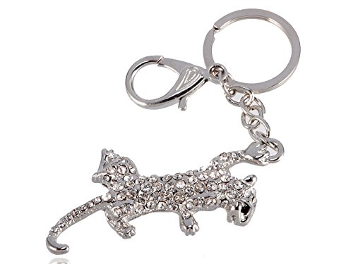 Alilang Silvery Tone Bling Clear Crystal Rhinestone Fighting Jaguar Leopard Cat Key Chain -