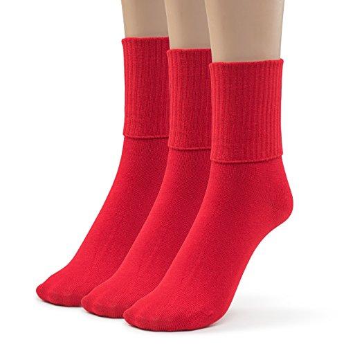 Silky Toes 3 Pk Turn Cuff Triple Roll Girl's School Crew Socks (Small (7-8), Red) (Red Hat Socks)