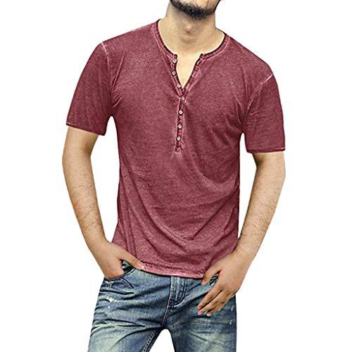 Men's Button V-Neck Slim T-Shirts, MmNote Casual Retro Cool Quick Soft ComfortSoft Short Sleeve Wine ()