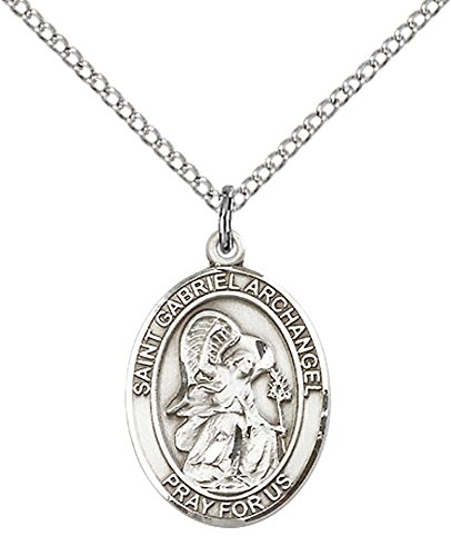 F A Dumont Church Supplies Sterling Silver St. Gabriel the Archangel Pendant with 18