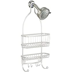 InterDesign York Lyra - Bathroom Shower Caddy Shelves - Pearl White - 10 x 4 x 22 inches