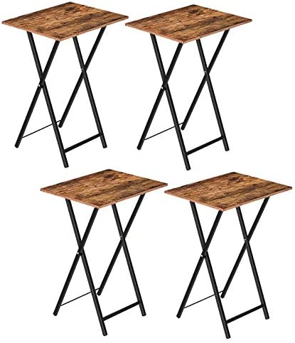 HOOBRO TV Trays, Set of 4 Folding TV Tables, Industrial Laptop Table, Space Saving Sofaside Snack Table for Living Room, Bedroom, Small Space, Stable and Easy Assembly, Rutic Brown BF25BZP201