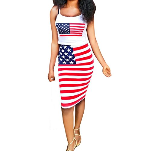 Fiaya 2018 Patriotic Women's Sleeveless Halter Strap USA Flag Print Crop Top Elastic Waist Tight Skirt Two Piece Bodycon Dress (L, Red) ()