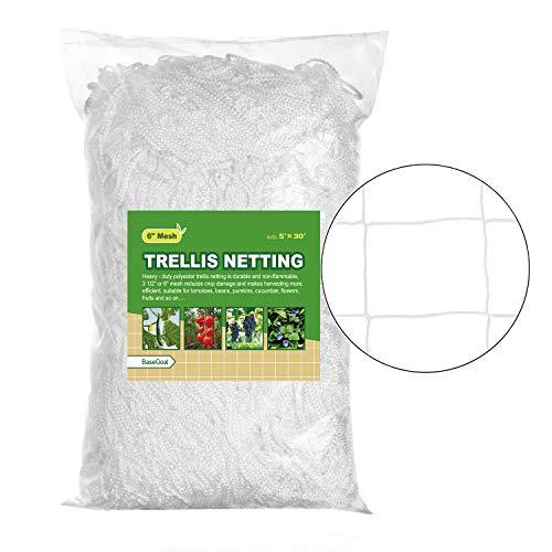 """BaseGoal All-Weather Trellis Netting Plant Garden Vine Plant Growing Flexible String Net (6"""" Mesh, 5"""