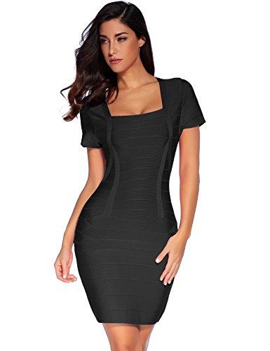 Meilun Women's Rayon Short Sleeve Square Neck Bandage Dress Medium Black