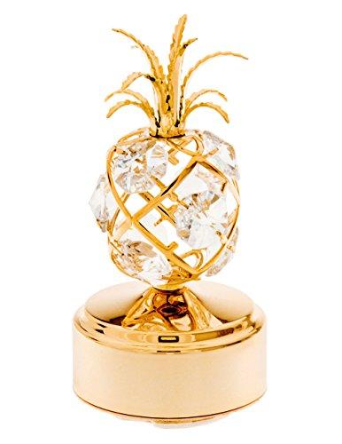 (Pineapple 24k Gold Plated Music Box Figure with Swarovski)