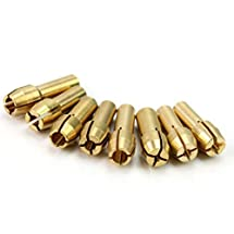 NUOLUX 8pcs Brass Collet for Dremel Rotary Tools 1mm 1.6mm 2.3mm 3.2mm (Golden)