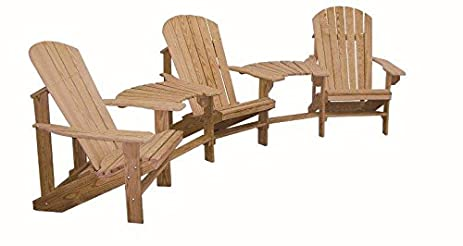 Unfinished Cypress Wood Adirondack Chairs With 2 Center Table Connectors