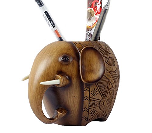 (Large Wood Carving style Elephant Pencil Holder Fashion Creative Wooden Pen Holder (elephant))