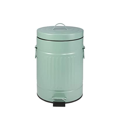 Amazon.com: YZLJ Color Trash Can, Round Metal Recycling Bin ...